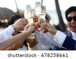 newlyweds and friends clang... | Shutterstock . vector #678258661