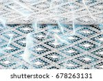 lacy white fabric. hand lace on ... | Shutterstock . vector #678263131