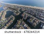 aerial view of sunset beach... | Shutterstock . vector #678264214