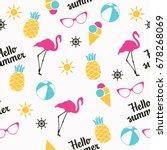 summer pattern. flamingo ... | Shutterstock .eps vector #678268069