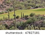 a golf course in the arizona desert - stock photo