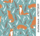 foxes and flowers  hand drawn... | Shutterstock .eps vector #678272839