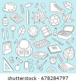 vector doodle icons collection. ... | Shutterstock .eps vector #678284797