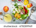 summer lettuce with salad... | Shutterstock . vector #678289969