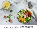 summer lettuce with salad... | Shutterstock . vector #678290491