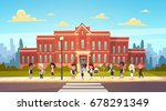 group of pupils mix race stand... | Shutterstock .eps vector #678291349