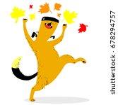 fall season dog character. cute ... | Shutterstock .eps vector #678294757