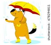 fall season dog character. cute ... | Shutterstock .eps vector #678294811