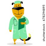 dog in costume of doctor. pet... | Shutterstock .eps vector #678294895