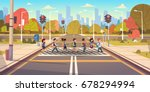 group of school children... | Shutterstock .eps vector #678294994