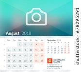 august 2018. calendar for 2018... | Shutterstock .eps vector #678295291