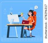 girl blogger sit at computer... | Shutterstock .eps vector #678296317