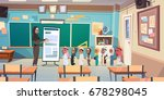 group of arab pupils with... | Shutterstock .eps vector #678298045