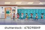 group of pupils walking in... | Shutterstock .eps vector #678298849