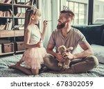 cute little girl and her... | Shutterstock . vector #678302059