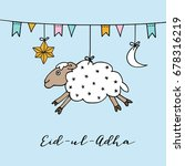 eid ul adha greeting card with... | Shutterstock .eps vector #678316219