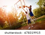 two street basketball players... | Shutterstock . vector #678319915