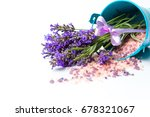 lavender flowers and bath salt... | Shutterstock . vector #678321067