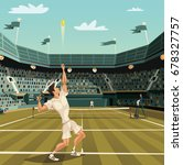 tennis player serving on... | Shutterstock .eps vector #678327757