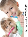 two children cleaning  teeth... | Shutterstock . vector #67833397