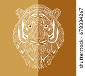 stylized tiger face. hand drawn ... | Shutterstock .eps vector #678334267