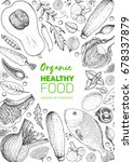 healthy food frame vector... | Shutterstock .eps vector #678337879