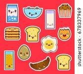 kawaii breakfast food set cute... | Shutterstock .eps vector #678337969