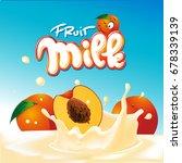 peach milk yogurt design  ... | Shutterstock .eps vector #678339139