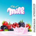 fruit berry milk yogurt design  ... | Shutterstock .eps vector #678339229