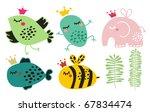cute animals in crown set.... | Shutterstock .eps vector #67834474