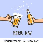hands holding a glass and a... | Shutterstock .eps vector #678357169
