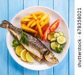 fish dish   fried fish fillet... | Shutterstock . vector #678358021