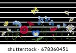 embroidery wild flowers.... | Shutterstock .eps vector #678360451