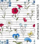 vector floral seamless pattern. ... | Shutterstock .eps vector #678360715