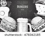 beer and burgers vector...   Shutterstock .eps vector #678362185