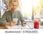 elegant blonde woman in blouse...   Shutterstock . vector #678363001