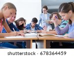 group of students listening to... | Shutterstock . vector #678364459