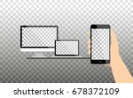 hand holds a smartphone with... | Shutterstock .eps vector #678372109