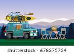 recreation in nature. car with... | Shutterstock .eps vector #678375724