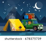 car with a tent and bonfire in... | Shutterstock .eps vector #678375739