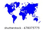 blue world map isolated on... | Shutterstock .eps vector #678375775