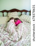 two girls sleeping in bed cling ... | Shutterstock . vector #678378631