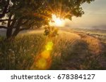 landscape rays of sun through... | Shutterstock . vector #678384127