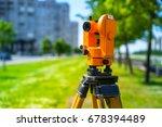 theodolite orange. geodesy.... | Shutterstock . vector #678394489