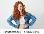 rude young girl with red curly... | Shutterstock . vector #678396541