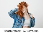 happy beautiful girl smiling... | Shutterstock . vector #678396601