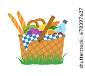 picnic set  food and water in a ... | Shutterstock .eps vector #678397627