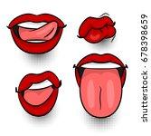 cartoon girl lipstick label tag ...   Shutterstock .eps vector #678398659