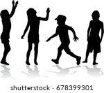 vector silhouette of children... | Shutterstock .eps vector #678399301