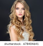 blonde fashion  girl with long  ... | Shutterstock . vector #678404641
